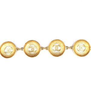 CHANEL Jewelry - Cc Medallion Pendant Charm Links Cuff Bracelet